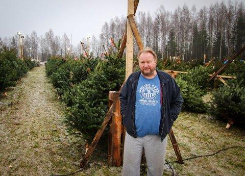 JORDBÆR OG AKSJER: Til tross for at han tjente nest mest på Romerikes i fjor, er Per Isingrud også i år på plass for å selge juletrær ved avkjøringen fra E6 til Jessheim.