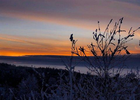 Rimfrost og lav vintersol på Trøgstad fort.