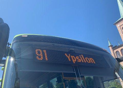 Displayet på 91-bussen har endret seg. Bussen vil ha endestasjon ved Ypsilon i Drammen, istedet for Drammen sykehus frem til 12. august.