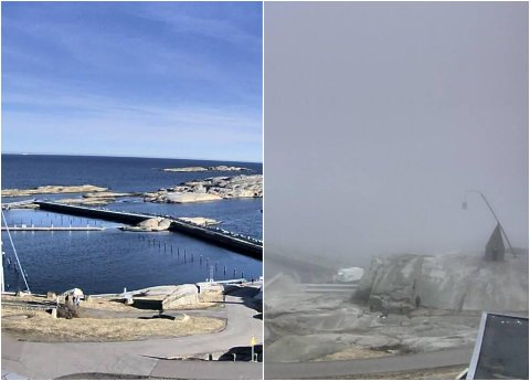 FRA SOLSKINN TIL GRÅTT: På bare noen minutter ble det et totalt værskifte da kysttåken kom sigende inn ved 18-tiden.