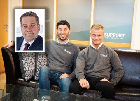 GOD STØTTESPILLER: – Vi gleder oss veldig til å starte et nytt kapittel med Heine Wang på laget, er Ghazi Khder (25) og Patrick Solrunarson (25) i renholdsfirmaet Support Service Partner AS enige om.