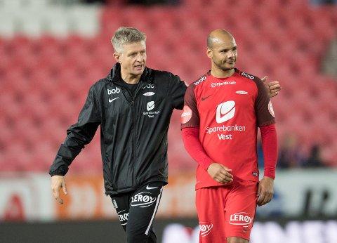 Lars Arne Nilsen kan glemme  Daniel Braaten for resten av denne sesongen. Nå er spørsmålet om Braaten blir å se på Stadion i 2018. Foto: Arne Ristesund