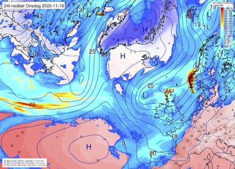 Kommende onsdag skal det bli ganske så vått i Bergen, om prognosene slår til.