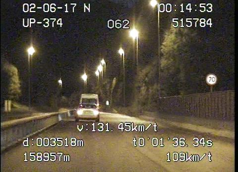 Kjører du for fort i sommer, er det fort gjort at Utrykningspolitiet ligger bak deg. Som ved dette tilfellet, der en bilist ble målt til en snitthastighet på 131 km/t i 70-sonen.
