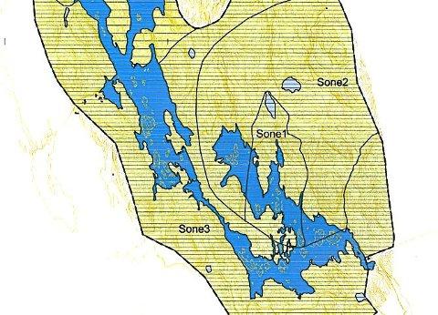 Sonekart for Børtervann. Gjeddevann på Flateby er Enebakks andre drikkevannkilde.