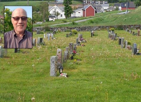 IKKJE FORNØGD: Øyvind Fjellvang meiner kyrkjegarden i Breim ikkje er tatt godt nok vare på.