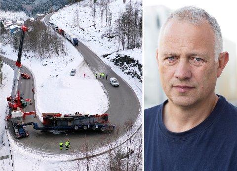 RINGVERKNADER: Nistad-sjåfør Jon Arne Høgalmen vart fanga i E39-køen i fem timar og seks minutt før han kunne byrje å køyre vidare, og var langt frå åleine.