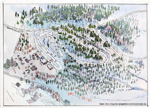 SLIK KAN DET BLI: Skissen viser hvordan anlegget skal plasseres i terrenget mellom lysløypa og Brønnerødveien, sør for jordet det skiklubben tidligere har produsert snø.