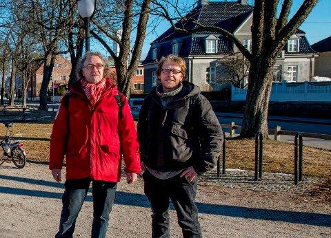 Til høyre leder Jonas Markus Qvale og gruppeleder og styremedlem Jan-Kåre Fjeld i Bymiljølista er klare til valget.