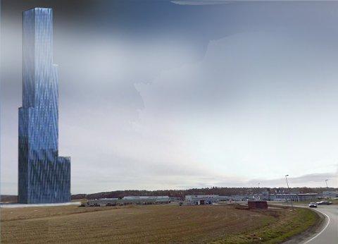 På Ørebekk: Det opprinnelige forskningssenteret «Store Blå» ville ruve i det flate landskapet ved Ørebekk.  Slik ser John Andersen for seg bygget. Selskapet bak Store Blå sier at det kan bli en annen utforming.  (Illustrasjon: John Andersen)
