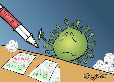 Virustrøbbel: Virus er ikke alltid enkelt, ikke en gang skrivemåten. Magne Aasbrenn har sett på coronaviruset og FNs rolle. Illustrasjon: Robin A. Olsen
