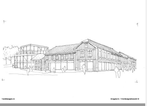 Her er prinsippskissen som arkitektkontoret Vardehaugen AS har spilt inn og fått aksept for i revidert reguleringsplan  for Storgata 81.
