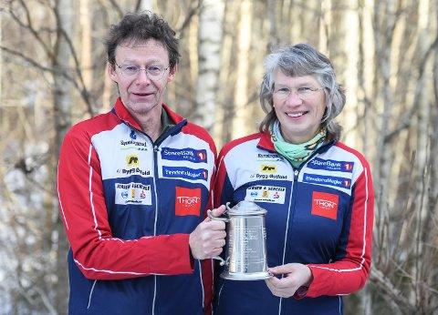 BLE HEDRET: Etter mange år som ildsjeler i Halden Skiklubb, er ekteparet Eirik Nordbrøden og Anne Julsrud Haugen tildelt Grotta-prisen.