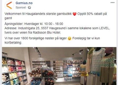 NEI: Fylkespolitikerne vil ikke gi Garnius dispensasjon til å drive et lite fysisk utsalg i den store nettbutikken sør i Haugesund.  Foto: Skjermbilde fra Garnius sin Facebook-side.