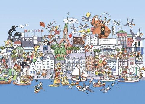RIKT: Betydningen av «livet mellom husene» er godt illustrert på Steinar Iversens tegning av et rikholdig kultur- og næringsliv og bekrefter byens posisjon som en av landets største handelsbyer målt pr. innbygger, skriver Gunnar Johan Løvvik. 8Illustrasjon: Steinar Iversen
