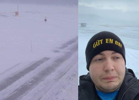 UVÆR: Vinden hørtes ut som en støvsuger, forteller Ken-Roger Halvorsen Sund fra Vardø. Han fikk ikke fly fra byen mandag morgen.  Bakgrunnsbildet er fra Nordkapp. Veien ut dit ble stengt grunnet været.