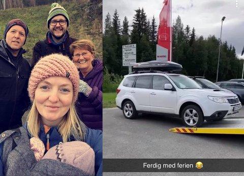 FANT REDDENDE ENGEL: Familien fra Løken fikk hjelp fra uventet hold da bilen havarerte på ferie i Trysil.