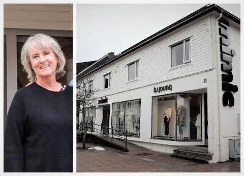 Brit-Helene Johansen vil selge bygården som står midt i sentrum av Sandnessjøen. - Vi har blitt pensjonister og vil ha mindre hus. Og så er mannen min lei av å være vaktmester, smiler hun.