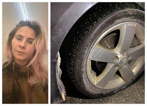 Linda Kristin Pedersen skulle bare kjøre å hente barna som hadde vært på påskeferie til bestemor da dekket smalt ned i et hull i veibanen. hun krevde erstatning fra Mesta men fikk nei.