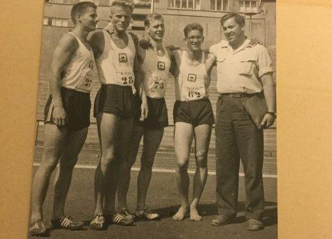 NORGESMESTERE 1959: Torvald Sande (f.v.) Jomar Kjos-Hanssen, Per Odd Aarrestad, Torbjørn Briseid -og Reidar B. Thu.