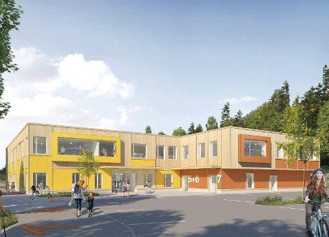 Et skritt nærmere bygging: Nye Kleiverud skole vil få et endelig go! i budsjettmøtet i desember. Formannskapet var tydelig på at prosjektet er godt med en god totaløkonomi, men et det er en betenkelighet i forhold til senere utbygging av hall. Skisse: Veidekke