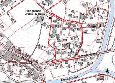HERADSTUN: Fristen for å koma med innspel til den nye detaljreguleringa for Heradstun (stipla linje) er 22. november.