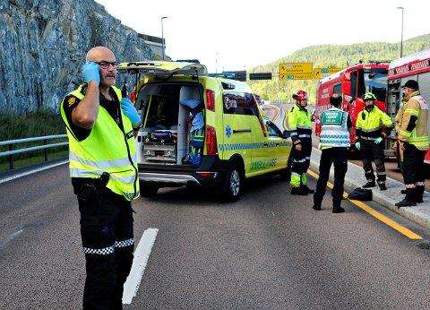 Audun Breivik i Kongsberg-politiet på ulykkesstedet.