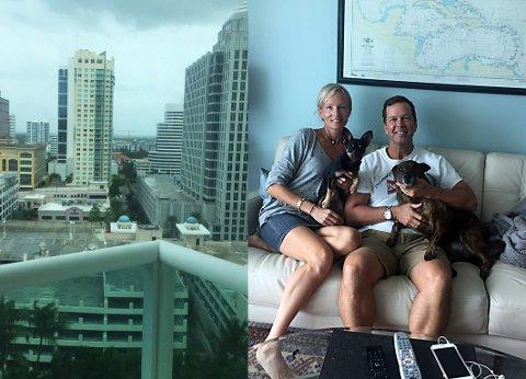 BLIR I BYEN: Tromsøkvinnen Anne E. Haig og ektemannen Alan har søkt tilflukt i 18. etasje i ei leilighetsblokk i Fort Lauderdale, en kystby i Florida.