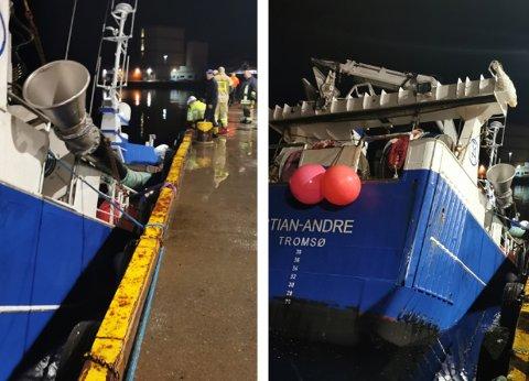 TIL BUNNS: MS Stian Andre sank ved kai i Øksfjord. Skikkelig trasig, sier eieren dagen derpå.