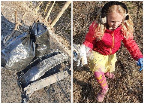 SØPPELPLUKKING PÅGÅR: Her er to store sekker fylt med søppel som Isabel (7) og familien har funnet langs veien.