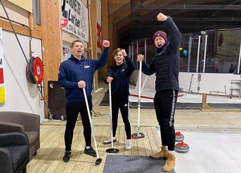 Sjur Magnusen, Joakim Jørgensen og Thomas Asdal vant curlingkonkurransen.