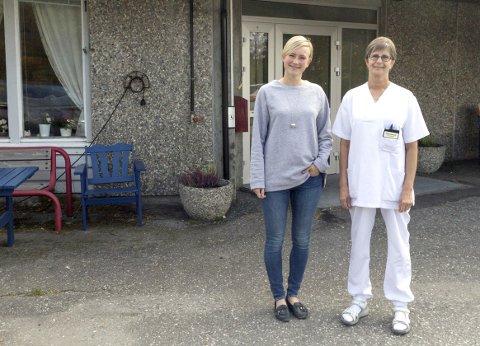 Fornøyde: Magnhild Herseth (t.v.) og Birgit Sivertsen Holmen (t.h.) ser fram til å flytte inn i et bygg som holder godkjent teknisk standard og gjør det mulig å drive et moderne sykehjem. Foto: Vegard Anders Skorpen