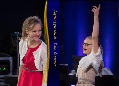 Vant: Duetten Ellinor Drevvatne og Adine Marie Bichfeldt Myhre (lærer: Darya Katyba) fikk 1. plass i populærmusikk-kategori i mellomste aldersgruppe (9-12 år).