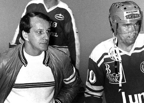 LEDERE: Lasse Beckmann (til venstre) og Steinar Bjølbakk under en kamp mot Stjernen i 1982.