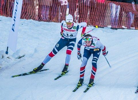 RØK UT: Johannes Høsflot Klæbo (t.v.) ble slått av Jørgen Lippert i kvartfinalen.