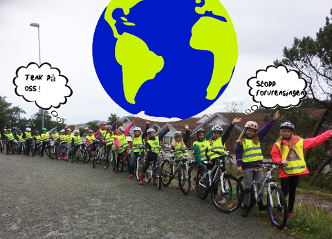 «Tenk på oss og stopp forurensingen nå!» Fra Norheim skole i Karmsund.