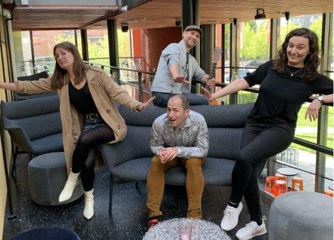 Kornelia Sletten Haugen (f.v.), Lars Johansson (bak), André Bongard og Azra Nukicic har åpningskonsert i Askim kulturhus 19. juni. Det skjer etter tre måneders koronastenging.