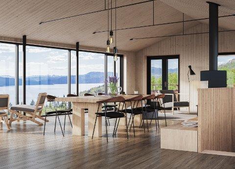 ARKITEKTTEGNET: Hyttene er arkitettegnet og store vinduer skal sørge for god utsikt.