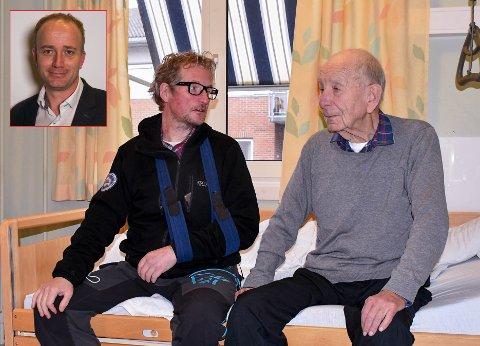 BER OM SVAR: Frode G. Hestnes (innfelt) tar opp saken til Jan Myrvang (t.h.) i utvalgsmøte 17. november. Erik Myrvang og broren Knut synes situasjonen med faren er en komplett skandale.
