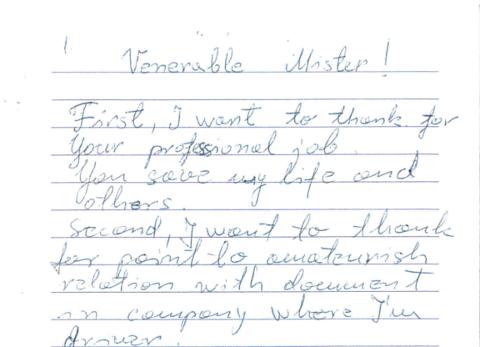 FIKK BREV: Dette brevet fikk en en utekontrollør i Statens vegvesen av en sjåfør som hadde fått kjøreforbud under en kontroll.