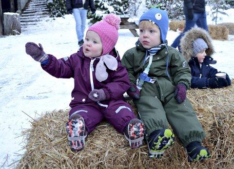 Trivelig: Tuva og Odin Haffke var blant de mange barna som tok turen til Jul på Leikvin i fjor.