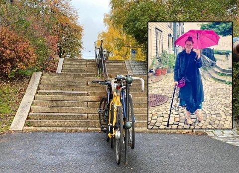 SYKKELTRØBBEL PÅ KAMPEN: I trappen ned mot Kampen skole låser noen syklene til gelenderet. Det skaper trøbbel for Hege Nilsen Ahlquist og andre med nedsatt syn.