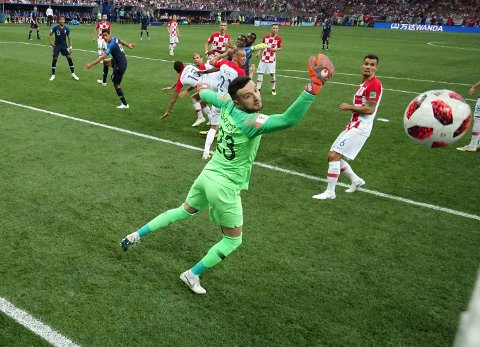 Croatia's Mario Mandzukic scores an own goal past Croatia goalkeeper Danijel Subasic during the final match between France and Croatia at the 2018 soccer World Cup in the Luzhniki Stadium in Moscow, Russia, Sunday, July 15, 2018. (AP Photo/Pavel Kopczynski, Pool via AP)