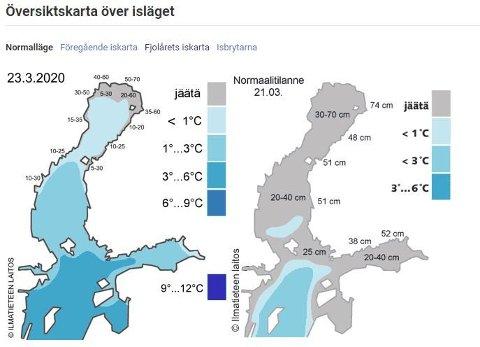 I store deler av Bottenviken er det tykk is nå