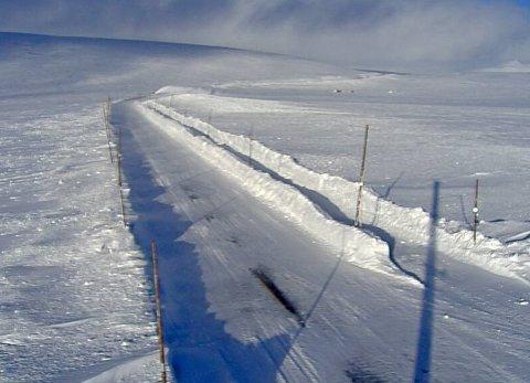 Hardangervidda er et av de utsatte områdene hvis været blir som det er meldt til helgen, med farevarsel for snøfokk. Bildet er tatt av Statens vegvesens webkamera på Riksvei 7, Skulevika, fredag ettermiddag.