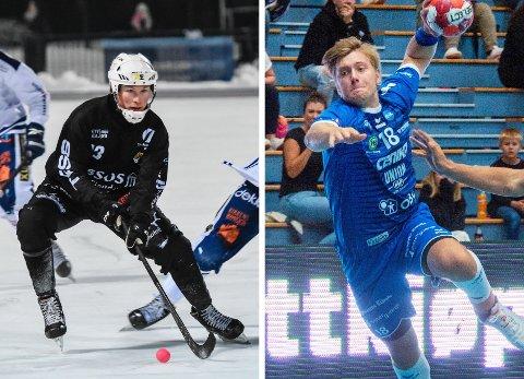 FORTSATT STOPP: Solbergs Christopher Nålby (t.v.) og DHKs Viktor Norberg får fortsatt ikke lov til å spille eliteseriekamper i bandy og håndball grunnet koronasituasjonen.