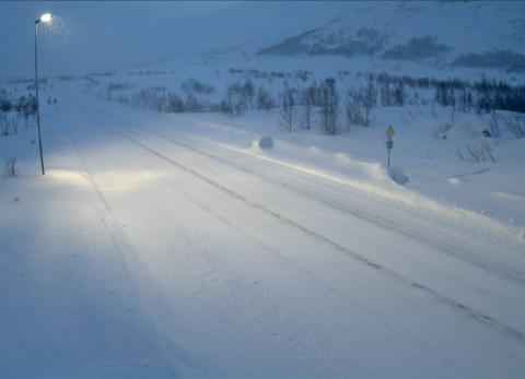 VED BJØBERG: Bilde av Riksveg 52 over Hemsedalsfjellet søndag morgon.