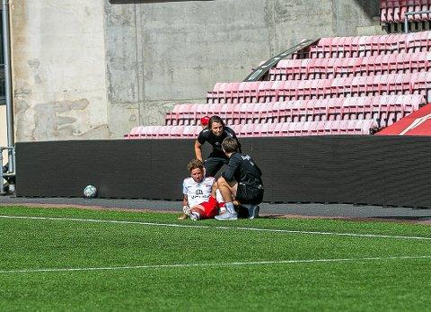 UTE: Ludvig Begby måtte ut med skade i den siste treningskampen mot Fram Larvik.