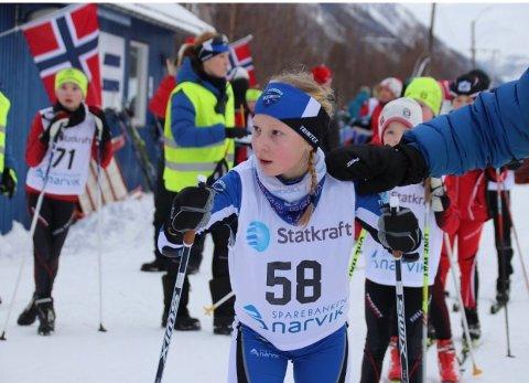VANT SIN KLASSE: Mari Haraldstad fra skiklubben på Ankenes vant sin klasse i førjulsrennet.