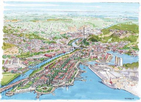 By-Mølen: Havneområdet framsto som en ny bydel i Halden i denne skissen som ble presentert som en visjon for Mølen. Tegning: arkitekt Tom Skapaas